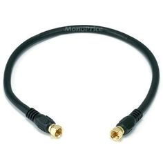 Monoprice 1.5ft RG6 (18AWG) 75Ohm, Quad Shield, CL2 Coaxial Cable with F Type Connector - Black by Monoprice. $5.15. The 75 ohm coaxial cable with F-type connectors is still commonly used with external ATSC television antennas, satellite receivers, cable modems, and many other types of equipment. For best results with your RF connection, use these high-quality Quad-Shielded RG-6 Coaxial Cables from cable is constructed with 75 ohm RG-6 coax, which uses two layers of cop...