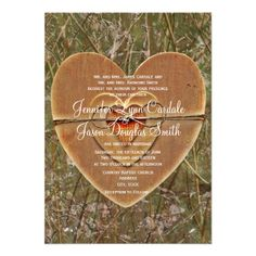 Rustic Country Wooden Heart Camo Wedding Invitations with a camouflage background and wooden stacked hearts design.