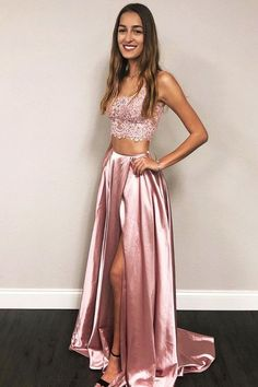 two piece pink long prom dresses, simple a line junior prom dresses with appliques, cheap 2 piece graduation party dresses for teens Split Prom Dresses, Prom Dresses Long Pink, Prom Dresses With Pockets, Prom Dresses Two Piece, Prom Dresses For Teens, Formal Evening Dresses, Dance Dresses, Elegant Dresses, Homecoming Dresses