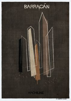 Gallery - Federico Babina's ARCHILINE Paints the Essence of Architecture's Greatest Works - 5 Big Architects, Luis Barragán, Architecture Plan, Brutalist, Magazine Art, Design Process, Graphic Design Typography, Illustrations Posters, Grands Noms