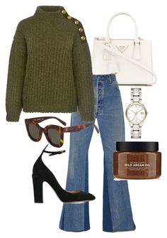 """""""Untitled #22664"""" by florencia95 ❤ liked on Polyvore featuring Prada, RE/DONE, Boutique Moschino, CÉLINE, Valentino and Burberry"""