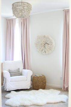 One of our White JuJu hats featured on Mint Arrow Blog - A Soft Pink and Gold Nursery | Lyla's nursery tour | Design by Becki Owens