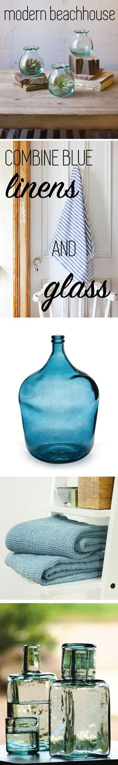 Combine blue linens and glass for the modern beach house interior.  Shades of blue evoke waves and seaglass, so they're perfect for decorating your beach house or summer cottage.  Shop these products here: https://hudsonandvine.com/products/brasserie-bottle-dark-blue - https://hudsonandvine.com/products/bedside-water-bottle-with-drinking-glass-set-2 - https://hudsonandvine.com/products/linen-border-bath-towel-navy-blue -  https://hudsonandvine.com/products/stone-blue-big-waffle-bath-towel