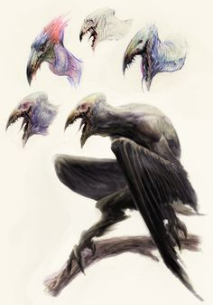 Eurynomos (Greek) - Disgusting, miserable demons that take the form of humanoid vultures. They are the lowest breed of demons, created from doomed and pathetic souls, cursed forever to feed on rotting corpses in the abyss.