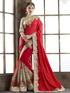 Red and Cream Tussar Silk Saree with Embroidery Work