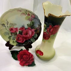 Collection of Red Rose Porcelain Limoges Bavaria and Capodimonte Porcelain and Bavarian Vase signed V. Braun