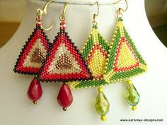 Beaded Earrings Peyote stitch seed bead triangular faceted crystals dangle