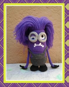 Crochet purple minion. I had so much fun making this little guy. He's a conversion of the pattern found here: http://allaboutami.tumblr.com/post/11585794742/minionpattern