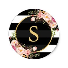 Shop Gold Monogram with Black White Striped Floral Deco Classic Round Sticker created by CardHunter. Personalize it with photos & text or purchase as is! Monogram Wallpaper, Alphabet Wallpaper, Framed Wallpaper, Pink Wallpaper Iphone, Glitter Wallpaper, Cute Wallpaper Backgrounds, Flower Wallpaper, Cute Wallpapers, Flower Letters