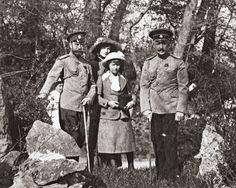 Tsar Nicholas II of Russia, Grand Duchesses Tatiana, Anastasia, and Standart commander Nikolai Sablin