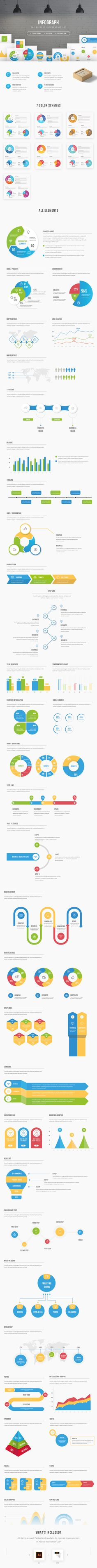 #infographic #infographics #elements #vector #presentation #freebie #freebies #graphicriver  http://graphicriver.net/item/infograph-infographic-elements-kit/16352228  This is a unique multipurpose template consist a lot of vector infographic elements: charts, graphics, shapes, timeline, puzzle diagrams etc… Ideal match for presenting visual information on your website or printed materials. For corporate, business, creative, or personal projects.  Set include 7 modern and fresh colour scheme.