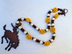 Wyoming Brown and Gold Western Necklace Wyoming by PiecesnLove, $48.99