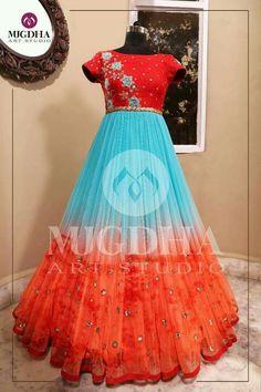 For orders whatsapp us on 9010906544 , 8142029190 Long Gown Dress, Frock Dress, Long Gowns, Kalamkari Dresses, Ikkat Dresses, Kids Blouse Designs, Dress Neck Designs, Designer Anarkali Dresses, Designer Evening Gowns