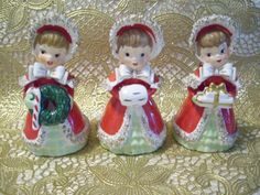VTG Lot Lefton Christmas Girl Angels Holds Wreath, Muff Gifts Bell Figurine Set