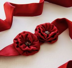 Handcrafted scarlet silk 3-in-1 headband, choker and sash belt with red Swarovski crystals.