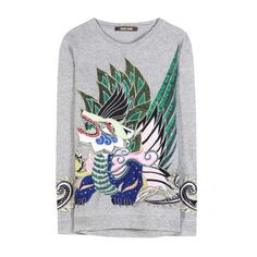 Roberto Cavalli Dragon Embellished Sweatshirt - Clipped by Modesty... ❤ liked on Polyvore featuring tops, hoodies, sweatshirts, roberto cavalli top, decorated sweatshirts, embellished tops, roberto cavalli and embellished sweatshirt