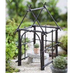 Jeremie   Mini garden antiqued brown gazebo, bench and tiny pot