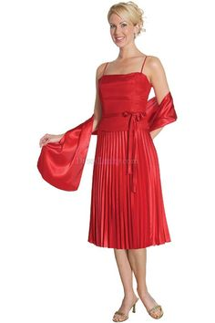 Red A-Line/Princess Natural Sleeveless Tea-length Mother Of The Bride Dresses With Ruffles MD14B5