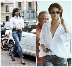 Есть ли в Вашем гардеробе белая рубашка мужского кроя?Нет ничего более простого для подчеркивания женственности.
