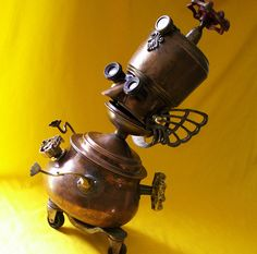 ☆ Robot Assemblage Sculpture * Professor Portly - The Endlessly Curious Seeker Of Wisdom And Truth Steampunk Robot ~ Sculpture by Will Wagenaar ☆