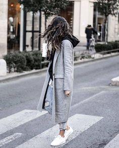 Coat: tumblr grey long grey long denim jeans blue jeans ripped jeans hoodie black hoodie sneakers