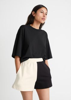 Two-Tone Terry Shorts - Black/White - Shorts - & Other Stories GB
