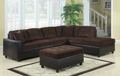 shop henri casual chocolate corduroy dark brown faux leather sectional with great price the classy home furniture has the best selection of to choose from