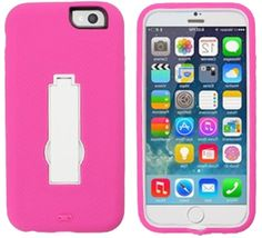 """myLife Wildly Pink and White {Smooth Layered Kickstand Design} 3 Layer FLEX Hybrid Case for the NEW iPhone 6 (6G) 6th Generation Phone by Apple, 4.7"""" Screen Version (Two Piece Internal Fitted Hard Protector Snap Shell + Full Body External Silicone EASY-Grip Bumper Gel Protection)"""