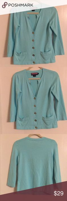 """Vineyard Vines by Shep & Ian Blue Cardigan M Vineyard Vines by Shep & Ian Blue Cardigan. Cotton, Nylon And Spandex. Bust - 36"""" Length - 23"""". Pre-Owned in excellent condition. Vineyard Vines Sweaters Cardigans"""