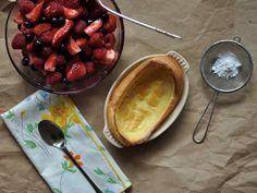 Berry Oven Pancakes from Food Network Blogs: Home made Dutch baby!!! Takes me back to sunday mornings in High school :)