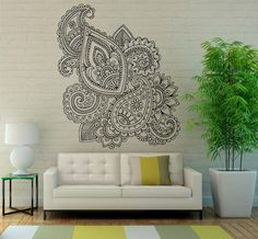 Mehndi Wall Vinyl Decal Mandala Lotus Stickers Art by Rossstickers