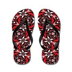 Black, white and red kaleidoscope 9070 Flip Flops by Khoncepts.com