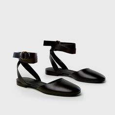 Inspired by Rudolph Schindler and West Coast modernist architecture, Jenni designed a series of easy, pared down leather flats this season finished with strong, architectural ankle straps. This ballet