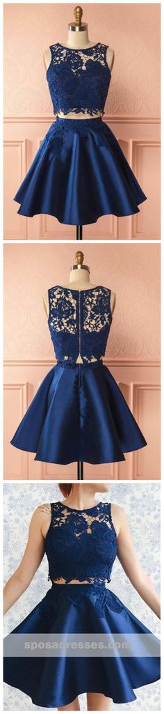 Sexy Two Pieces Navy Blue Illusion Lace Cheap Short Homecoming Dresses 2018, CM556 #homecoming #homecomingdresses