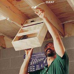 12 Free Workshop Storage Plans: Tool Cabinets, Rolling Carts, Under Stair Storage garage Basement Storage, Stair Storage, Hidden Storage, Garage Storage, Tool Storage, Storage Ideas, Ceiling Storage, Extra Storage, Clothes Storage