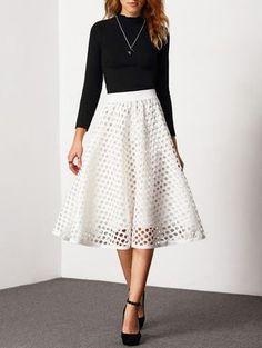 white skirt, high waist skirt, eyelet skirt, cut out skirt - Lyfie