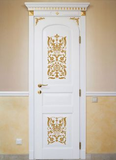 Gilding on door panels with Italian wall stencil patterns - la boudoir?