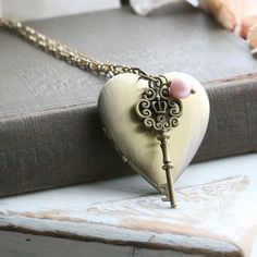 Key Locket Necklace Personalized Vintage Style by dorijewellery