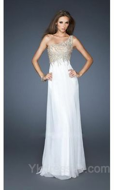 Chiffon Natural One-Shoulder White Long Evening Dresses ykdress5514