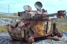The Falkland Islands Thirty Years After The War: Wreck of an Argentinian armoured car at Stanley Airport