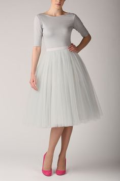 Grey pearl tutu tulle skirt, gray petticoat long, high quality tutu skirts