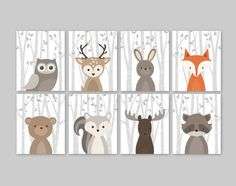 Baby Nursery Art Woodland Nursery Animals Baby Room by YassisPlace