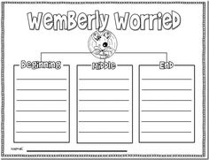 Wemberly Worried: character traits, B.M.E., and online story & It goes with our First Grade Personal Narrative Unit!