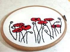 Hand Embroidery Pattern Poppies embroidery design Poppy hand