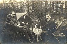 Three brothers, left to right: Marcel Duchamp, Jacques Villon, and Raymond Duchamp-Villon in the garden of Jacques Villon's studio in Pateaux, France, 1914. All three brothers were included in the exhibition.