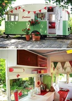 Vintage trailer--would love to go camping (or glamping) in this baby. Caravan Vintage, Vintage Rv, Vintage Caravans, Vintage Travel Trailers, Retro Trailers, Airstream Trailers, Vintage Airstream, Mini Caravan, Airstream Interior