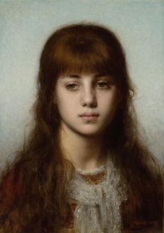 Study of a girl, Alexei Alexeiwicz Harlamoff. Russian (1849 - 1905)
