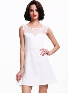 White Sleeveless Backless Bow Flare Dress 29.67