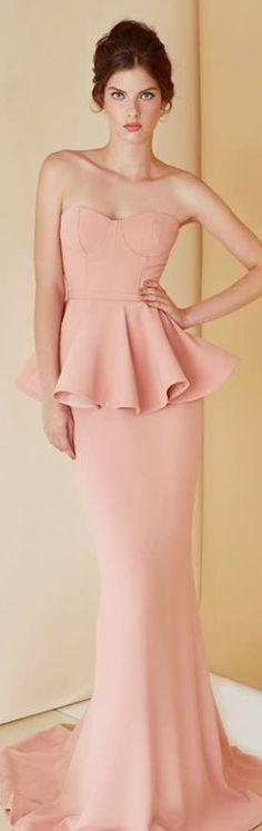 Dilek Hanif RTW SS 2014 | salmon pink dress with peplum