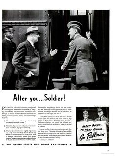 """""""After you...Soldier!"""" - ad for Pullman, June 8, 1942"""
